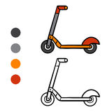 Coloring book for kids, Kick scooter. Coloring book for children, Kick scooter Stock Photos