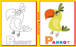 Coloring Book for Kids with letters and words. Litter P. Parrot. Royalty Free Stock Images