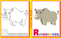 Coloring Book for Kids with letters and words. Litter R. Rhinoce Royalty Free Stock Image