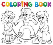 Coloring book kids play theme 1. Eps10 vector illustration Royalty Free Stock Photo