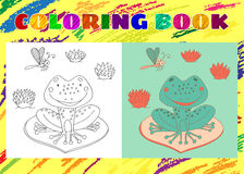 Coloring Book for Kids. Sketchy little frog sits on a leaf Royalty Free Stock Photography