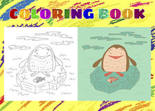 Coloring Book for Kids. Sketchy little penguin with fish. On an ice floe in cartoon style Stock Photos