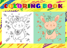Coloring Book for Kids. Sketchy little pink Bunny Stock Images