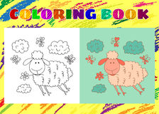 Coloring Book for Kids. Sketchy little pink cute lamb Stock Photography