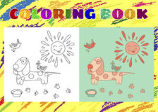 Coloring Book for Kids. Sketchy little pink dog with the sun Stock Photos
