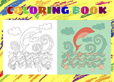 Coloring Book for Kids. Sketchy little pink dolphin Stock Photography