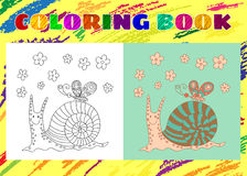 Coloring Book for Kids. Sketchy little pink funny snail. With flowers and butterfly in cartoon style Royalty Free Stock Photography