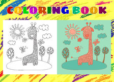 Coloring Book for Kids. Sketchy little pink giraffe Royalty Free Stock Photos