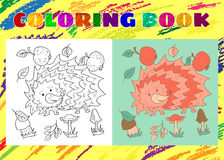 Coloring Book for Kids. Sketchy little pink hedgehog with apples Stock Photos
