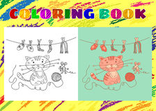Coloring Book for Kids. Sketchy little pink kitten and mousy vector illustration