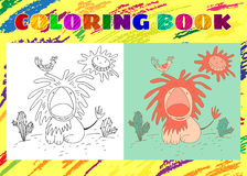 Coloring Book for Kids. Sketchy little pink lion with a bird Royalty Free Stock Images