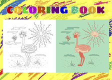 Coloring Book for Kids. Sketchy little pink ostrich Royalty Free Stock Photos
