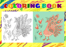 Coloring Book for Kids. Sketchy little pink peacock with flowers Stock Photography