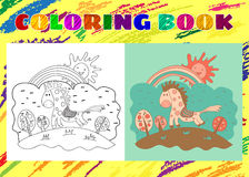 Coloring Book for Kids. Sketchy little pink spotted horse on the Royalty Free Stock Images