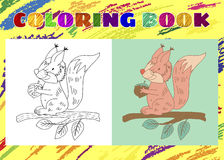 Coloring Book for Kids. Sketchy little pink squirrel Royalty Free Stock Photography