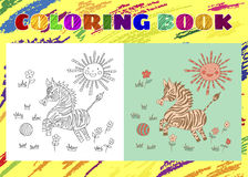 Coloring Book for Kids. Sketchy little pink striped zebra Royalty Free Stock Photography