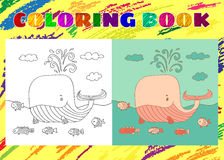 Coloring Book for Kids. Sketchy little pink whale with a fish. Swims in the sea in cartoon style Stock Image