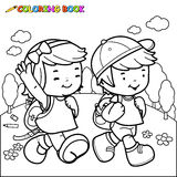 Coloring book kids walk to school. Black and white outline image of a girl and a boy students walking to school. Coloring book page Stock Photography