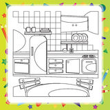 Coloring book with kitchen - vector illustration. Royalty Free Stock Images