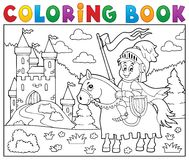 Coloring book knight on horse by castle. Eps10 vector illustration Royalty Free Stock Photos