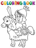 Coloring book knight on horse theme 2 Royalty Free Stock Image