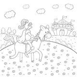 Coloring book knight on horseback and magic castle design for kids. Royalty Free Stock Photo