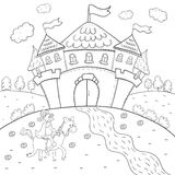 Coloring book knight on horseback and magic castle design for kids. Royalty Free Stock Photography