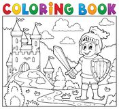 Coloring book knight near castle Royalty Free Stock Image