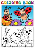Coloring book ladybug theme 2 royalty free illustration