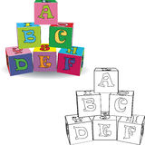 Coloring book. Letter cubes toys Royalty Free Stock Image