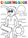 Coloring book life guard theme 1 Stock Photos