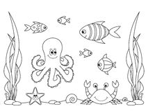 Coloring book - life in the sea Royalty Free Stock Photography