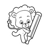Coloring book, Lion. Coloring book for children, cartoon Lion and marker Royalty Free Illustration
