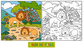 Coloring book (lions). Coloring book for children (lions royalty free illustration