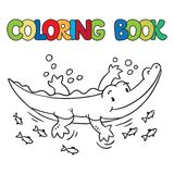 Coloring book of little alligator or crocodile. Coloring book or coloring picture of little funny alligator or crocodile swims in the lake Stock Photo
