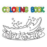 Coloring book of little alligator or crocodile Royalty Free Stock Image