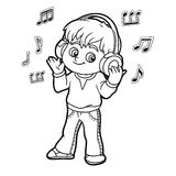 Coloring book: little boy listening to music on headphones. Coloring book for children: little boy listening to music on headphones Stock Photos