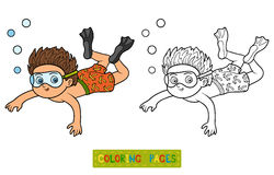 Coloring book, little boy swimming in the sea. Coloring book for children, little boy swimming in the sea Royalty Free Stock Photo