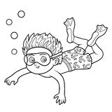 Coloring book, little boy swimming in the sea Stock Image
