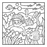 Coloring book, little boy swimming in the sea Royalty Free Stock Image