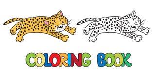 Coloring book of little cheetah or jaguar. Coloring book or coloring picture of little funny jumping cheetah or jaguar Stock Photo