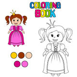 Coloring book with little cute princess. Coloring book with princess. Vector illustration Royalty Free Stock Photography
