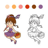 Coloring book (little fairy with a basket of fruit) Stock Image