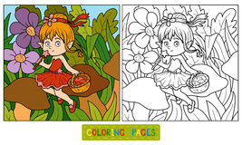 Coloring book (little fairy with a basket of fruit) Stock Photos
