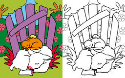 Coloring book little friends asleep Royalty Free Stock Photos