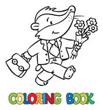 Coloring book of little funny badger Royalty Free Stock Photo