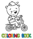 Coloring book of little funny bear on bicycle Royalty Free Stock Photos