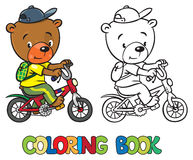 Coloring book of little funny bear on bicycle. Coloring book of funny little funny bear rides a bicycle with backpack. Children vector illustration Royalty Free Stock Image