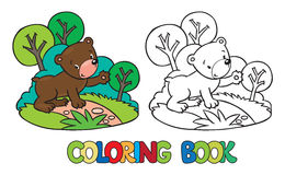 Coloring book of little funny bear Royalty Free Stock Image