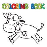 Coloring book of little funny cow or calf Stock Photos